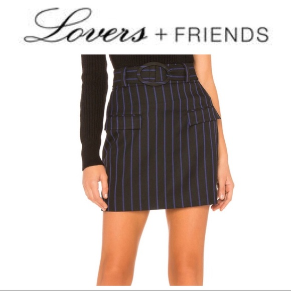 Lovers + Friends Dresses & Skirts - Lovers + Friends Striped Belted Mini